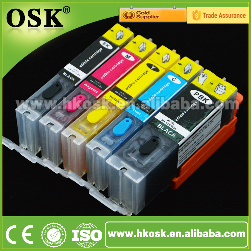 5 Color Edible ink cartridges for Canon MX722 MX922 MG5520 ...