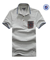 Men's grey 60% cotton 40% polyester polo shirts short sleeve pocket 60/40polo shirts