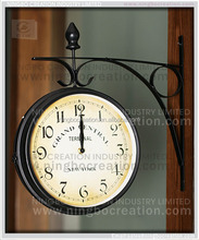Outdoor decorative hanging antique station metal double sided wall clock