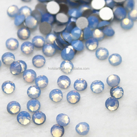 new color arrival ss12 blue opal color flatback non hotifx silver foiled good shine rhinestone for DIY nail hobby