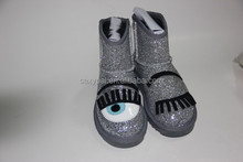 Shinny girls glitter sheepskin single eyes pattern short ankle snow boots