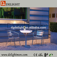 Muebles llevado caliente venta recargable iluminado RGB brillante café mesa sillas con base de aluminio