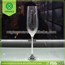 Luxury champagne glass with silver diamond stem