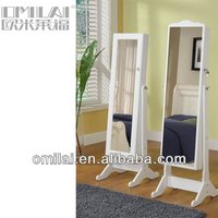 cheap white antique high quality floor furniture mirrored jewelry cabinet for Middle East