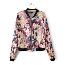 2014 superior de las mujeres de primavera y otoño de la moda flor de manga larga de impresión outwear, casual slim 6922 chaqueta