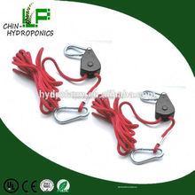 Hydroponic garden supply adjustable 1/4 rope ratchet/hood hanger accessory