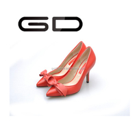 butterfly knot high heel black pink leather shoes for lady 2015 New Arrival