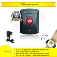 Personal security devices GSM wireless auto dialer alarm system with wristband style panic button for elderly emergency calling