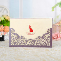 luxuries wedding Invitation with bride and groom paper decoration