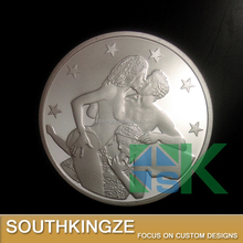 Art and collectible silver plated nude sex euro coin