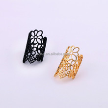 Hollow Out Lace Flower Alloy Female Ring Metal Open Ring