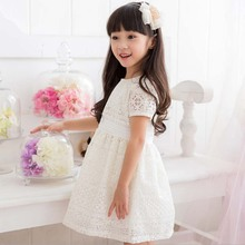 ta1558 high quality short sleeve lace popular girl A-line dress white color