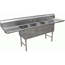 3 comp restruant stainless steel kitchen sinks with modern designs