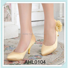 lady prom comfortable pump heels yellow wedding shoes