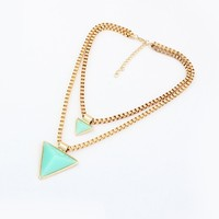 Geometry Triangle Crystal Double Chain Multilayer Fashion Necklace Costume Jewelry China Factory Supply