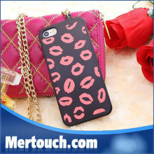 sexy red lip phone cover case for iphone 5 5s with lanyard fashion back cover case for apple iphone 5
