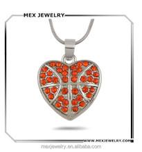 Factory price orange crystal heart shape basketball pendant necklace