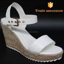 custom comforatble open toe leather wedge shoes