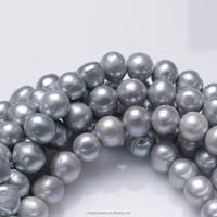 12-14mm off round A+ grade dyed unique dyed grey freshwater pearl strand