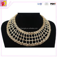 24K gold plated frozen clear glass crystal beaded necklace designs statement necklaces