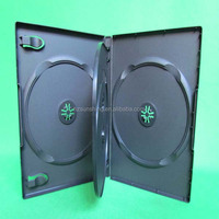 2014 Top Quality plastic pp Black 14mm 4discs cd dvd box with 1 double tray