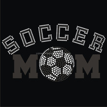 Personalized colorful design soccer Rhinestone iron on Heat Transfer FY59 (4)