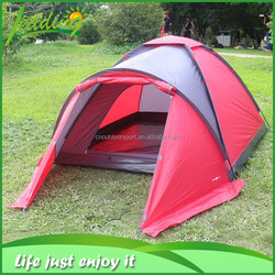 red and black color cheap family tent, 190TPU 1000MM rainfly family camping tent, family tent for camping