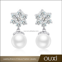 OUXI big sale double sided freshwater traditional pearl earrings