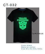 New men's print luminous t shirt cotton slim t-shirts personalized Glow