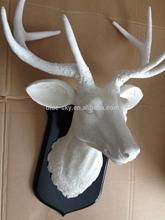 ciervo de resina escultura, blanco taxidermia falso ciervos resina escultura cabeza, pared cabeza de Animal colgando escultura