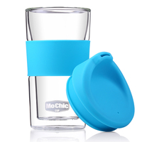 Wholesale 300ml Glass Tea Cup With Silicone Lid High Borosilicate Glassware
