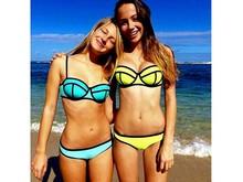 Promotional custom sublimation screen printed neoprene brazilian smart and sexy young girl swimwears