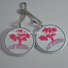 alibabba fr hot sales round shape embossed pvc keychain