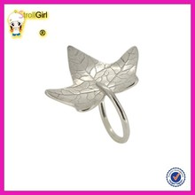 Popular design silver color fashion maple leaf rings simple leaf ring jewelry design for party girl