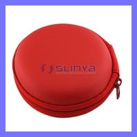 Red Mini Punching Zipper Nylon Cable Earphone Small Money Bag