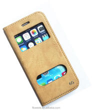 FL3638 dual clear window shiny stripe wallet stand leather case for iphone 6