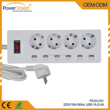 OEM Europe Germany Type C E F USB outlet Power extension 4 ways socket plugs 220v