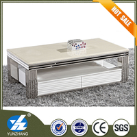 white modern marble top tea coffee table