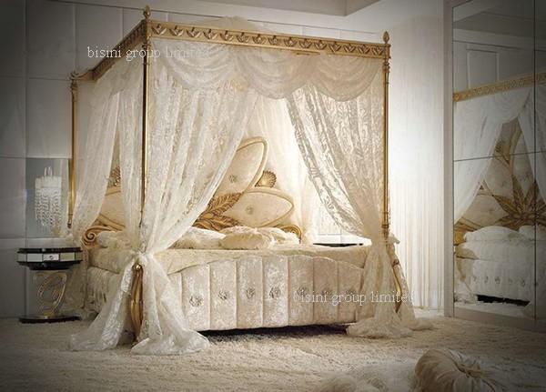 royale italienne meubles de chambre coucher en bois luxe rembourr lit baldaquin avec - Chambre A Coucher Royal Italy