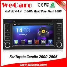 Wecaro hot sale Quad Core android system 2 din car dvd for toyota corolla 2005 GPS navigator TV Radio tuner CD Player