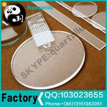 Clear round square optical quartz glass plate