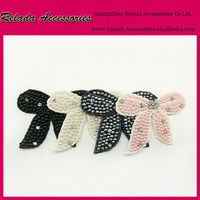 Customized Rhinestone pearl seed beads bow applique make mini bow flower patch to sew on kids dress