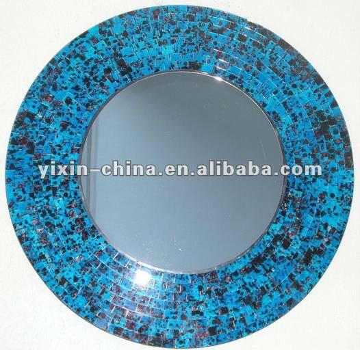 Rond mosa que mur de verre miroir cadre miroir meubles for Miroir rond mosaique