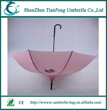 pretty elegant pink fabric pagoda umbrella with fully fiber ribs and metal shaft