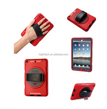 Built-In Rotating Hand Strap Full-body Rugged Hybrid Protective KickStand Case for iPad Air 2