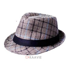Women Men Vintage Big Check Fedora Hat Trilby Derby Cap Blower Jazz Hat