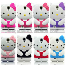 Cell phone case Hello kitty cartoon 3d silicone case for samsung s4, for samsung galaxy s4 case silicone