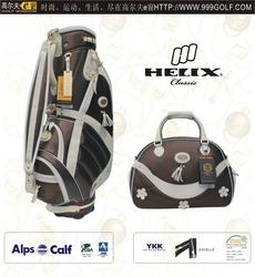 Helix ladies design PU golf bag with shoe bag/ women golf bag with boston bag/golf travel bag with shoes compartment