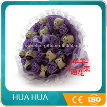 2015 new toys birthday gift for girl plush toy 11 bears artificial flower bouquet decor.ation wedding table