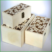 Hollowed-out Lid Christmas Gift Wood Box, Wedding Decor Wooden Box